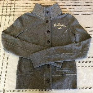 hollister girl's sweater gray buttons down two bag